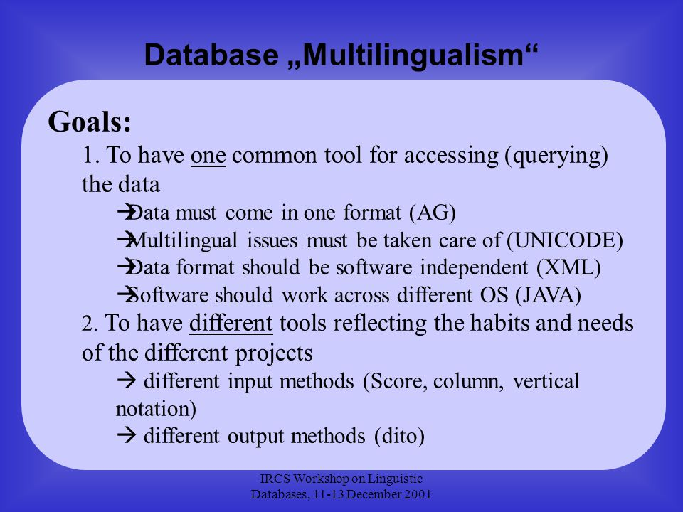 """IRCS Workshop on Linguistic Databases, 11-13 December 2001 Database """"Multilingualism Goals: 1."""