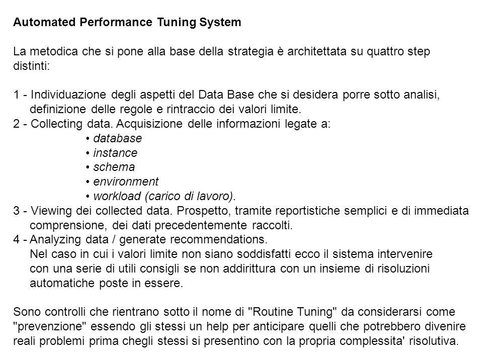 Automated Performance Tuning System La metodica che si pone alla base della strategia è architettata su quattro step distinti: 1 - Individuazione degli aspetti del Data Base che si desidera porre sotto analisi, definizione delle regole e rintraccio dei valori limite.