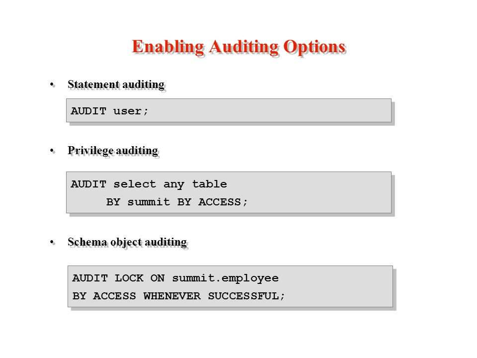 Enabling Auditing Options Statement auditing Privilege auditing Schema object auditing Statement auditing Privilege auditing Schema object auditing AUDIT select any table BY summit BY ACCESS; AUDIT user; AUDIT LOCK ON summit.employee BY ACCESS WHENEVER SUCCESSFUL;