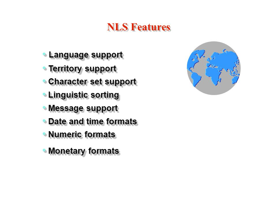 NLS Features Language support Language support Territory support Territory support Character set support Character set support Linguistic sorting Linguistic sorting Message support Message support Date and time formats Date and time formats Numeric formats Numeric formats Monetary formats Monetary formats Language support Language support Territory support Territory support Character set support Character set support Linguistic sorting Linguistic sorting Message support Message support Date and time formats Date and time formats Numeric formats Numeric formats Monetary formats Monetary formats
