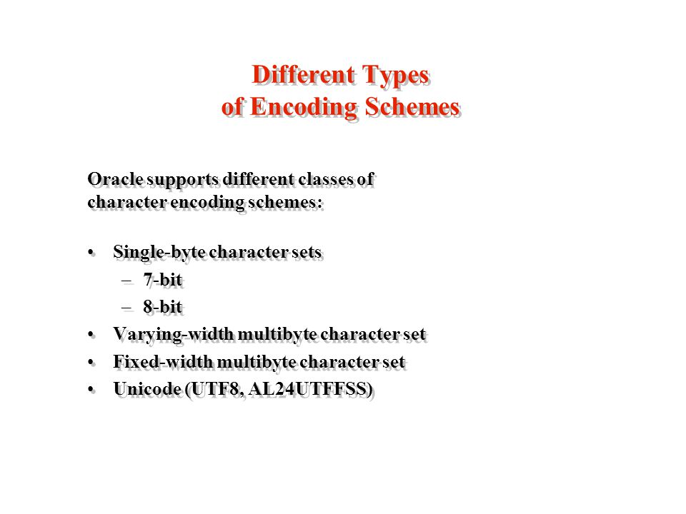 Different Types of Encoding Schemes Oracle supports different classes of character encoding schemes: Single-byte character sets –7-bit –8-bit Varying-width multibyte character set Fixed-width multibyte character set Unicode (UTF8, AL24UTFFSS) Oracle supports different classes of character encoding schemes: Single-byte character sets –7-bit –8-bit Varying-width multibyte character set Fixed-width multibyte character set Unicode (UTF8, AL24UTFFSS)