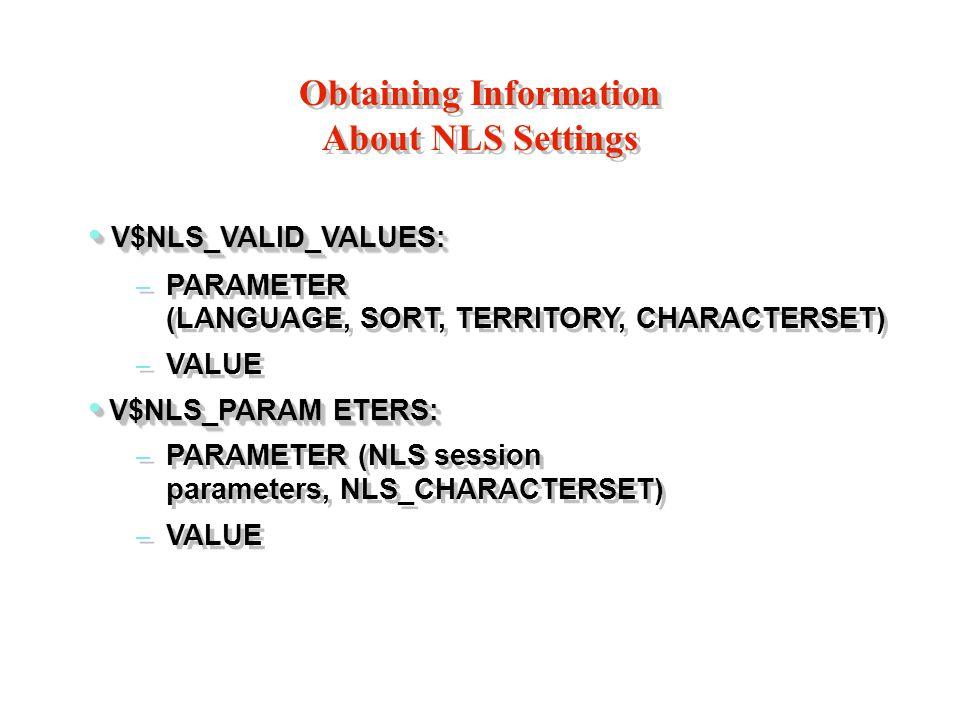Obtaining Information About NLS Settings V$NLS_VALID_VALUES: V$NLS_VALID_VALUES: – PARAMETER (LANGUAGE, SORT, TERRITORY, CHARACTERSET) – VALUE V$NLS_PARAM ETERS: V$NLS_PARAM ETERS: – PARAMETER (NLS session parameters, NLS_CHARACTERSET) – VALUE V$NLS_VALID_VALUES: V$NLS_VALID_VALUES: – PARAMETER (LANGUAGE, SORT, TERRITORY, CHARACTERSET) – VALUE V$NLS_PARAM ETERS: V$NLS_PARAM ETERS: – PARAMETER (NLS session parameters, NLS_CHARACTERSET) – VALUE