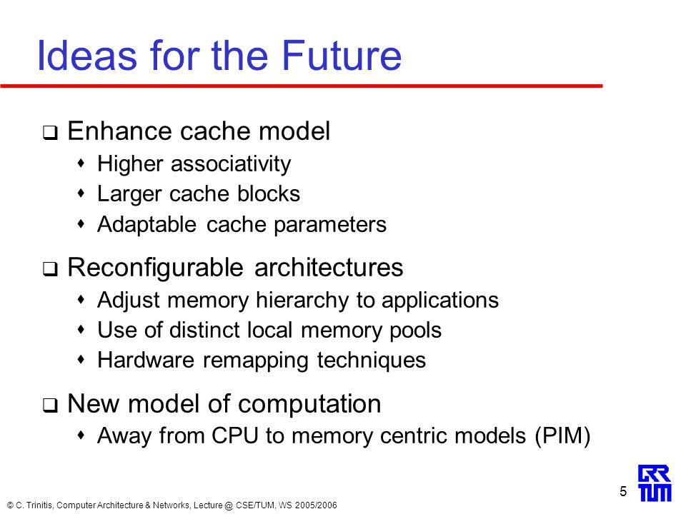 © C. Trinitis, Computer Architecture & Networks, Lecture @ CSE/TUM, WS 2005/2006 5 Ideas for the Future  Enhance cache model  Higher associativity 