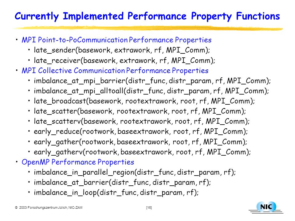 © 2003 Forschungszentrum Jülich, NIC-ZAM [16] Currently Implemented Performance Property Functions MPI Point-to-PoCommunication Performance Properties