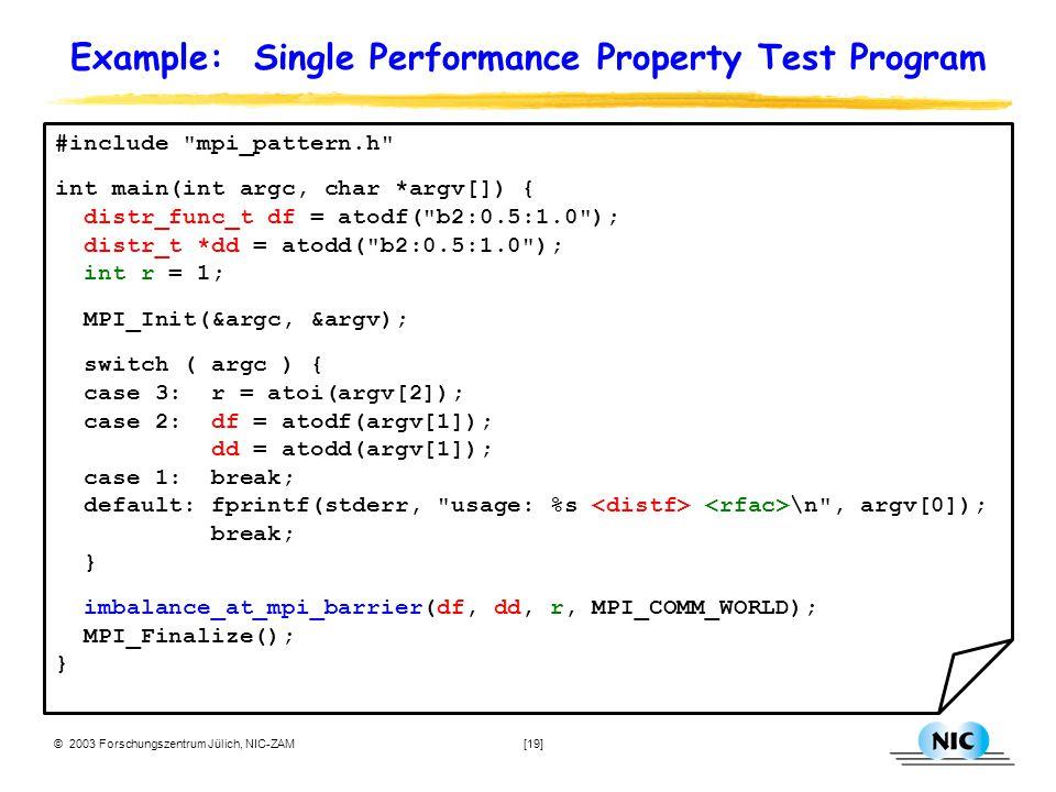 © 2003 Forschungszentrum Jülich, NIC-ZAM [19] Example: Single Performance Property Test Program #include mpi_pattern.h int main(int argc, char *argv[]) { distr_func_t df = atodf( b2:0.5:1.0 ); distr_t *dd = atodd( b2:0.5:1.0 ); int r = 1; MPI_Init(&argc, &argv); switch ( argc ) { case 3: r = atoi(argv[2]); case 2: df = atodf(argv[1]); dd = atodd(argv[1]); case 1: break; default: fprintf(stderr, usage: %s \n , argv[0]); break; } imbalance_at_mpi_barrier(df, dd, r, MPI_COMM_WORLD); MPI_Finalize(); }