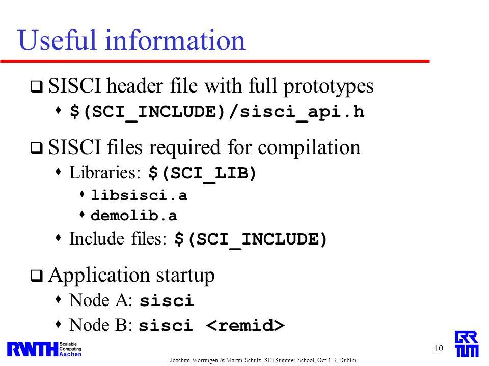 Joachim Worringen & Martin Schulz, SCI Summer School, Oct 1-3, Dublin 10 Useful information  SISCI header file with full prototypes  $(SCI_INCLUDE)/sisci_api.h  SISCI files required for compilation  Libraries: $(SCI_LIB)  libsisci.a  demolib.a  Include files: $(SCI_INCLUDE)  Application startup  Node A: sisci  Node B: sisci