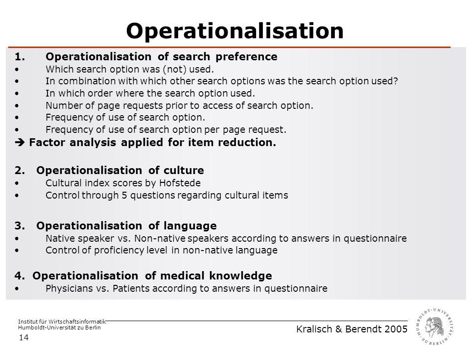 Institut für Wirtschaftsinformatik Humboldt-Universität zu Berlin Kralisch & Berendt 2005 14 Operationalisation 1.Operationalisation of search preference Which search option was (not) used.