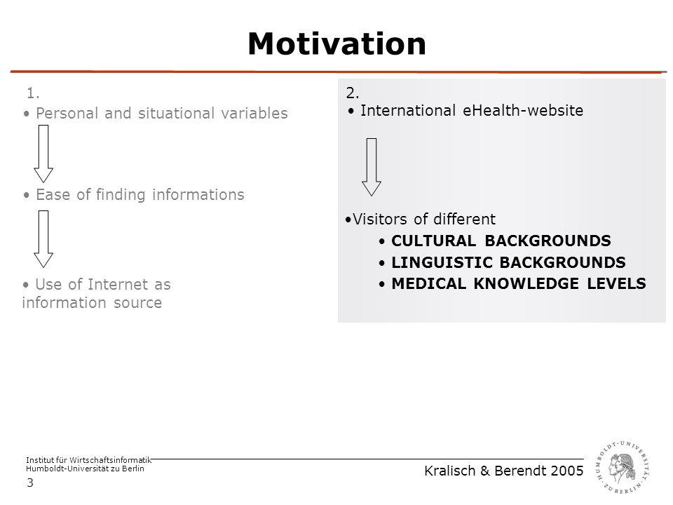 Institut für Wirtschaftsinformatik Humboldt-Universität zu Berlin Kralisch & Berendt 2005 3 Motivation Use of Internet as information source Ease of finding informations Personal and situational variables 1.2.