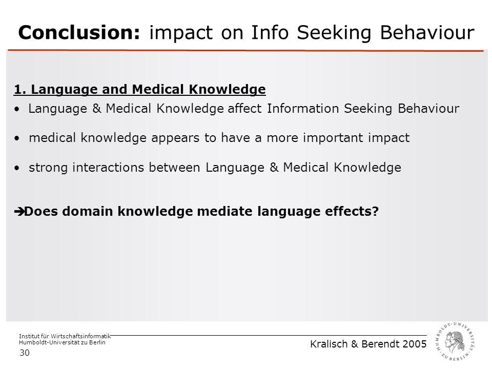 Institut für Wirtschaftsinformatik Humboldt-Universität zu Berlin Kralisch & Berendt 2005 30 Conclusion: impact on Info Seeking Behaviour 1.