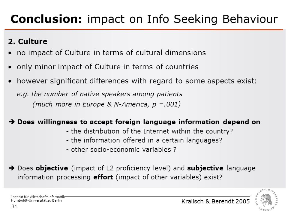Institut für Wirtschaftsinformatik Humboldt-Universität zu Berlin Kralisch & Berendt 2005 31 Conclusion: impact on Info Seeking Behaviour 2. Culture n