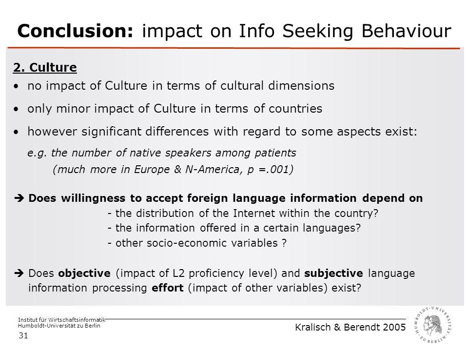 Institut für Wirtschaftsinformatik Humboldt-Universität zu Berlin Kralisch & Berendt 2005 31 Conclusion: impact on Info Seeking Behaviour 2.