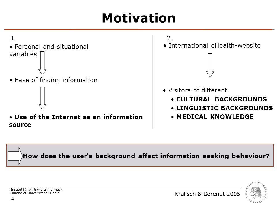 Institut für Wirtschaftsinformatik Humboldt-Universität zu Berlin Kralisch & Berendt 2005 4 Motivation Use of the Internet as an information source Ea