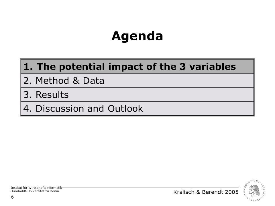 Institut für Wirtschaftsinformatik Humboldt-Universität zu Berlin Kralisch & Berendt 2005 6 Agenda 1.The potential impact of the 3 variables 2.