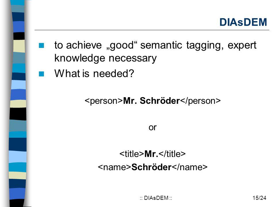 """15/24:: DIAsDEM :: DIAsDEM to achieve """"good"""" semantic tagging, expert knowledge necessary What is needed? Mr. Schröder or Mr. Schröder"""