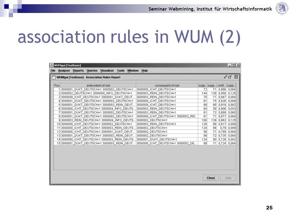 Seminar Webmining, Institut für Wirtschaftsinformatik 25 association rules in WUM (2)