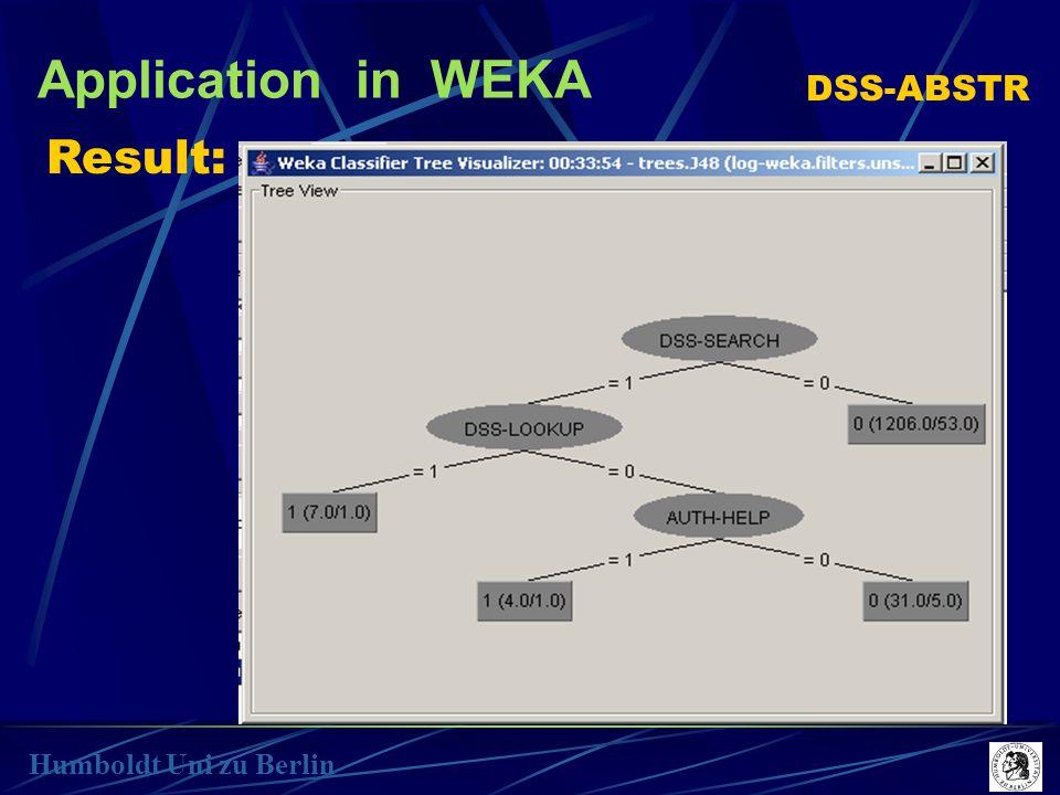 Application in WEKA Humboldt Uni zu Berlin Result: DSS-ABSTR