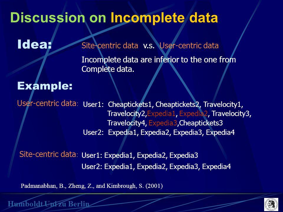 Discussion on Incomplete data Humboldt Uni zu Berlin Idea: Site-centric data v.s.
