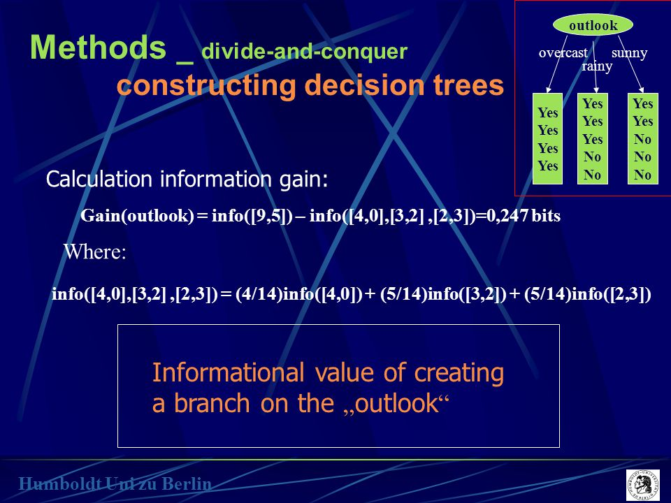 "Methods _ divide-and-conquer constructing decision trees Humboldt Uni zu Berlin Calculation information gain: Gain(outlook) = info([9,5]) – info([4,0],[3,2],[2,3])=0,247 bits info([4,0],[3,2],[2,3]) = (4/14)info([4,0]) + (5/14)info([3,2]) + (5/14)info([2,3]) Where: Informational value of creating a branch on the "" outlook outlook Yes overcast rainy sunny Yes No Yes No"
