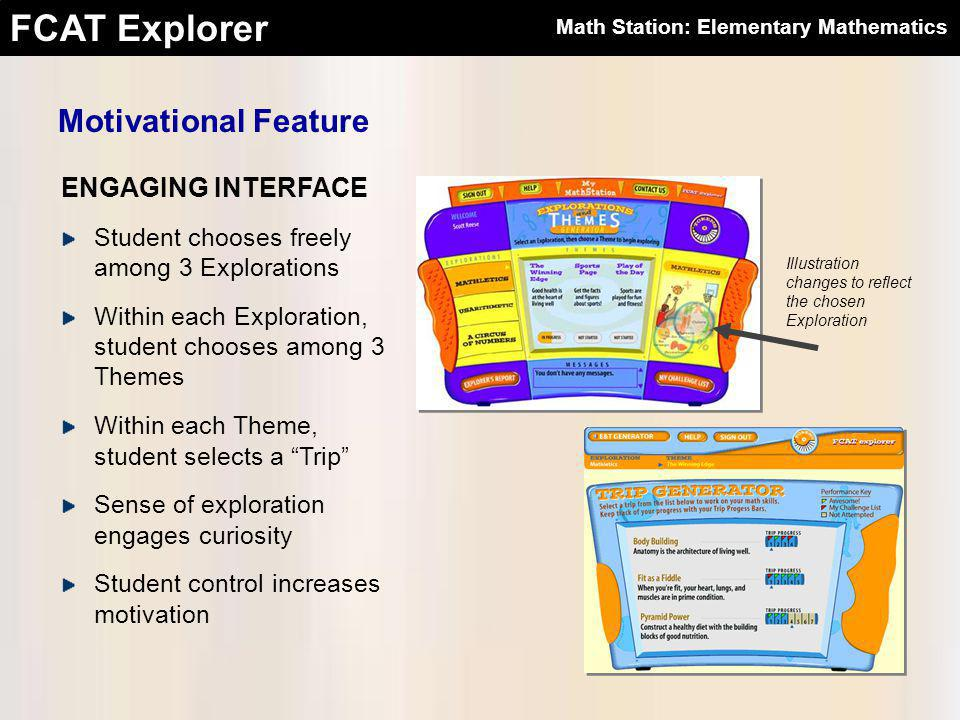 FCAT Explorer ENGAGING INTERFACE Motivational Feature Student chooses freely among 3 Explorations Within each Exploration, student chooses among 3 Themes Within each Theme, student selects a Trip Sense of exploration engages curiosity Student control increases motivation Illustration changes to reflect the chosen Exploration Math Station: Elementary Mathematics