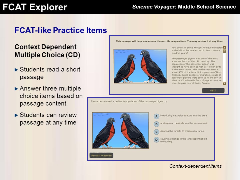 FCAT Explorer Science Voyager: Middle School Science FCAT-like Practice Items Context Dependent Multiple Choice (CD) Students read a short passage Ans