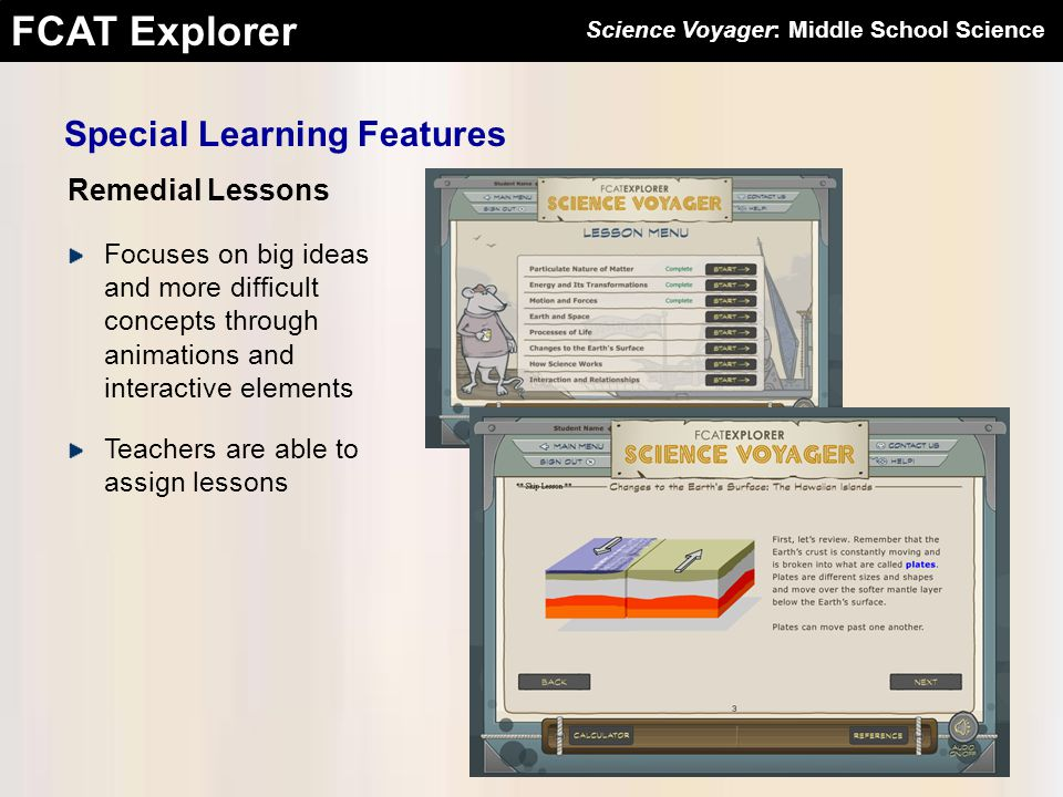 FCAT Explorer Remedial Lessons Special Learning Features Focuses on big ideas and more difficult concepts through animations and interactive elements