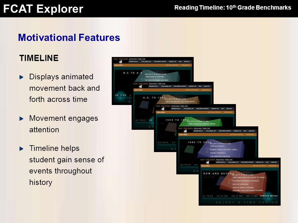FCAT Explorer TIMELINE Motivational Features Displays animated movement back and forth across time Movement engages attention Timeline helps student gain sense of events throughout history Reading Timeline: 10 th Grade Benchmarks