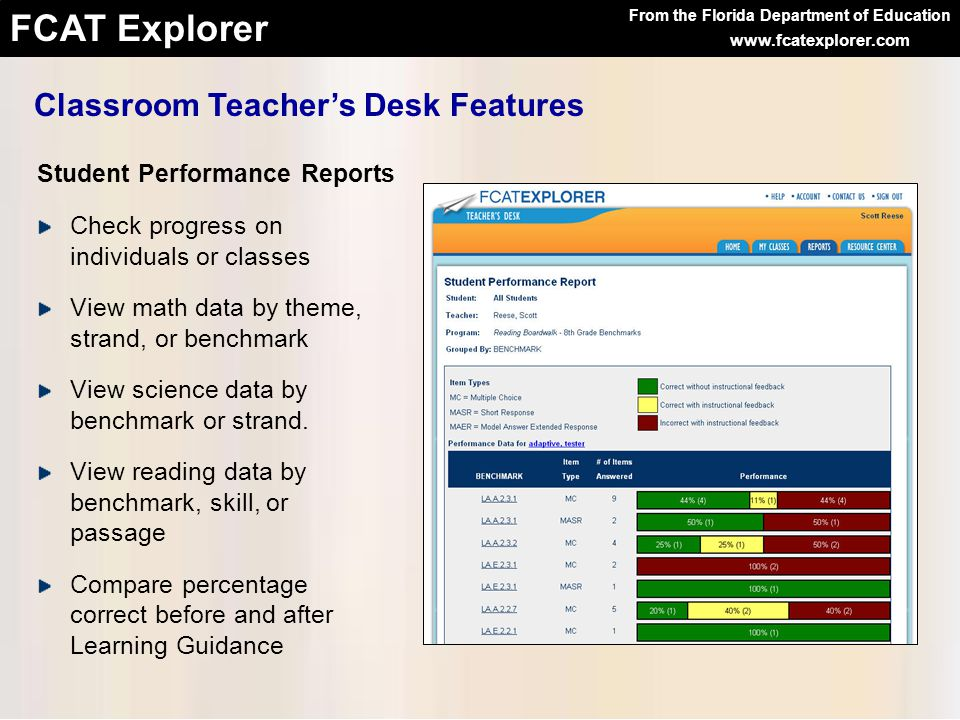 From the Florida Department of Education FCAT Explorer www.fcatexplorer.com Check progress on individuals or classes View math data by theme, strand, or benchmark View science data by benchmark or strand.