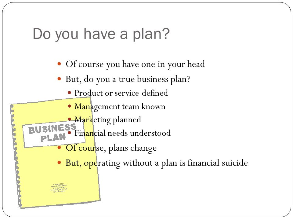 Do you have a plan? Of course you have one in your head But, do you a true business plan? Product or service defined Management team known Marketing p