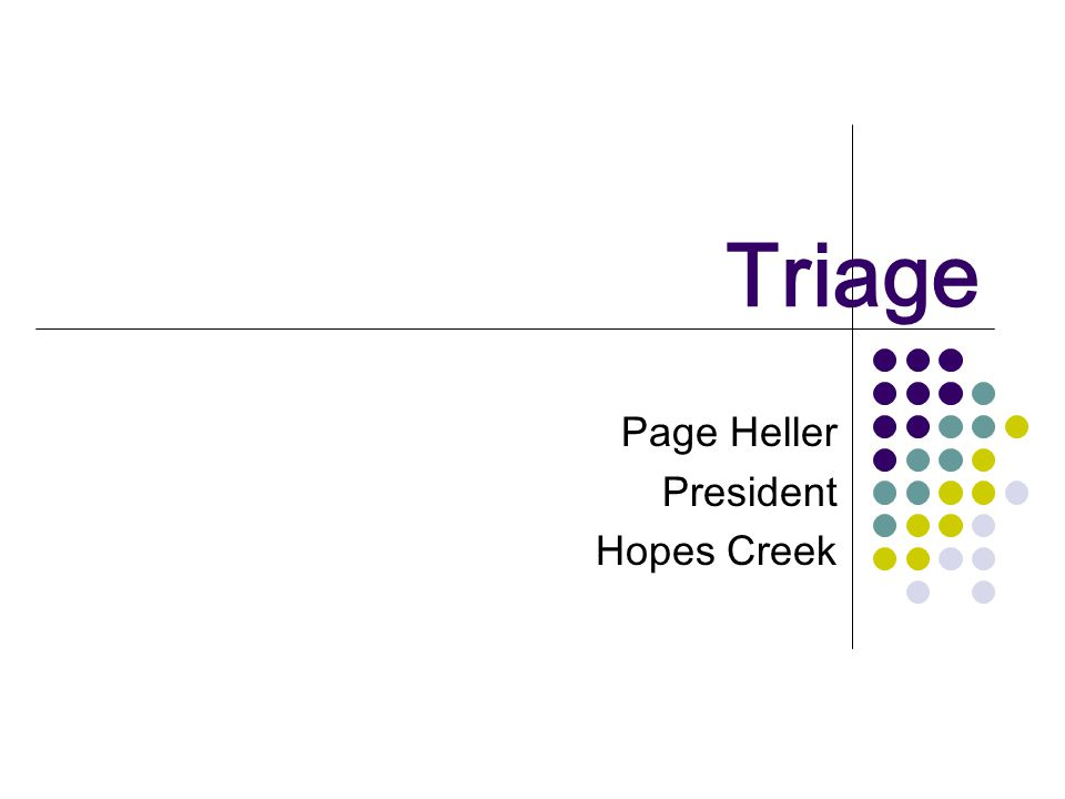Triage Page Heller President Hopes Creek