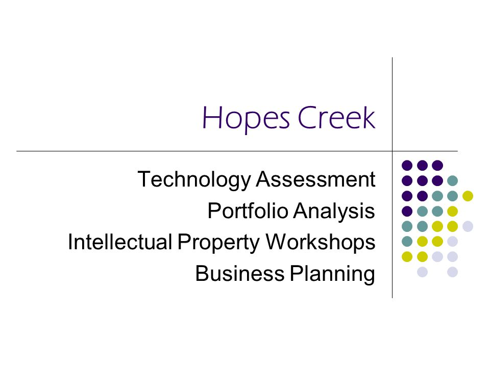 Hopes Creek Technology Assessment Portfolio Analysis Intellectual Property Workshops Business Planning