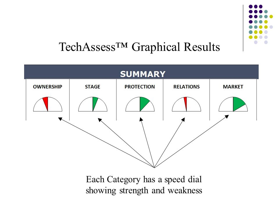 TechAssess™ Graphical Results Each Category has a speed dial showing strength and weakness