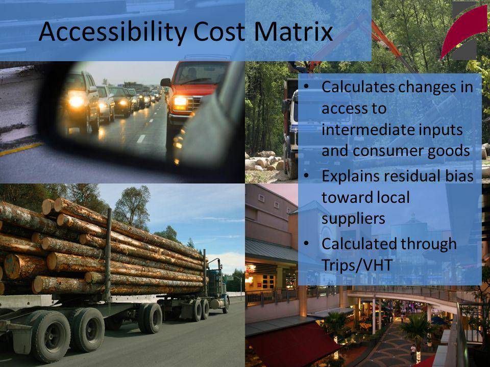 Accessibility Cost Matrix Calculates changes in access to intermediate inputs and consumer goods Explains residual bias toward local suppliers Calculated through Trips/VHT