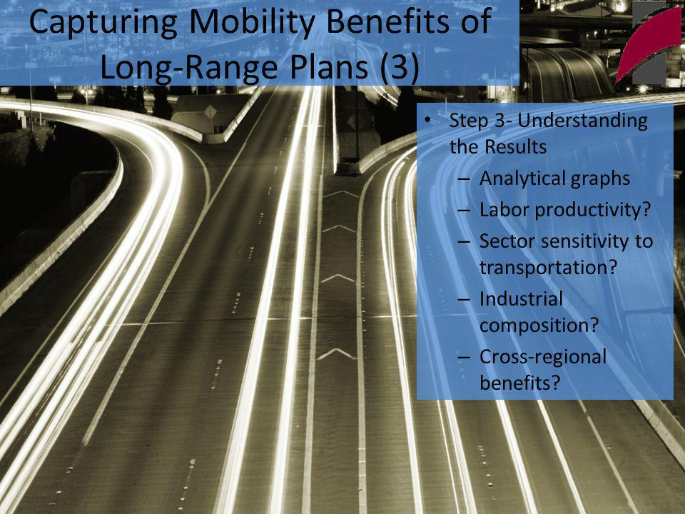 Capturing Mobility Benefits of Long-Range Plans (3) Access to Market HighLow Access to Inputs High Hospitals Motor Vehicle Manufacturing Low Restaurants and Retail Oil and Gas Extraction