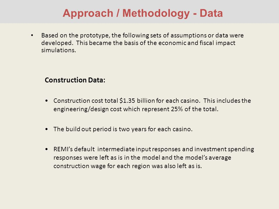 Approach / Methodology - Data Based on the prototype, the following sets of assumptions or data were developed.