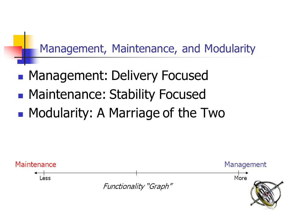 Management, Maintenance, and Modularity Management: Delivery Focused Maintenance: Stability Focused Modularity: A Marriage of the Two MaintenanceManagement Functionality Graph LessMore