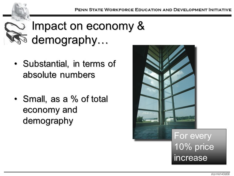 dlprmb14Oct08 Impact on economy & demography… Substantial, in terms of absolute numbersSubstantial, in terms of absolute numbers Small, as a % of total economy and demographySmall, as a % of total economy and demography For every 10% price increase