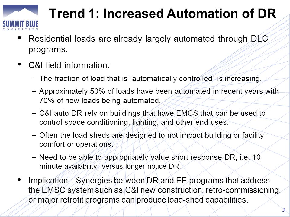 Trend 1: Increased Automation of DR Residential loads are already largely automated through DLC programs.