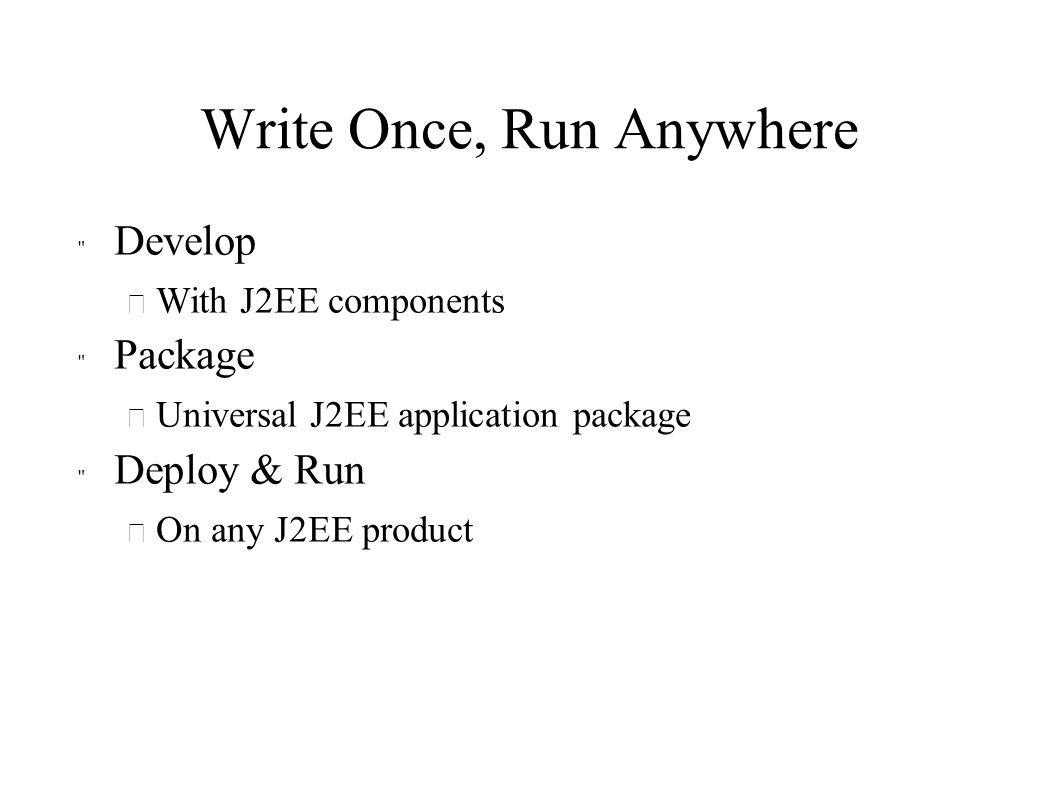 J2EE Components and Containers JNDI J2SE JMS RMI/IIOP JDBC Database App Client App Client Container HTTP/ HTTPS J2SE RMI J2SE JNDI JMS RMI/IIOP JDBC JTA JavaMail JAF JNDI JMS RMI/IIOP JDBC JTA JavaMail JAF Applet Container Applet JSP Servlet EJB Web Container EJB Container RMI J2SE
