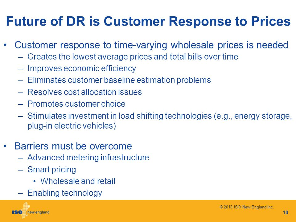 Future of DR is Customer Response to Prices Customer response to time-varying wholesale prices is needed –Creates the lowest average prices and total