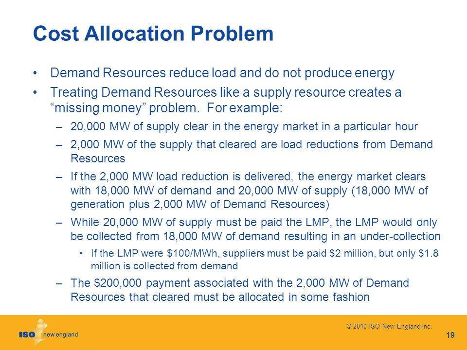 "Cost Allocation Problem Demand Resources reduce load and do not produce energy Treating Demand Resources like a supply resource creates a ""missing mon"