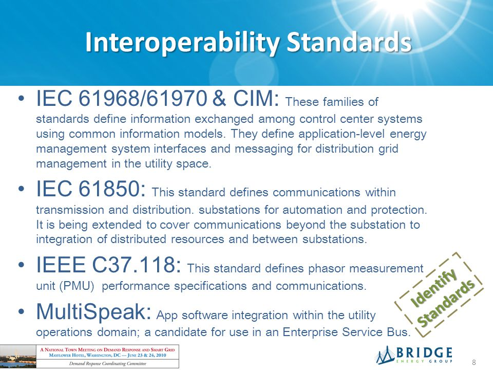 Interoperability Standards IEC 61968/61970 & CIM: These families of standards define information exchanged among control center systems using common information models.