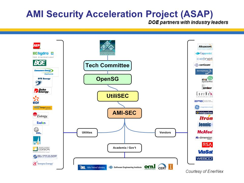 AMI Security Acceleration Project (ASAP) DOE partners with industry leaders Courtesy of EnerNex