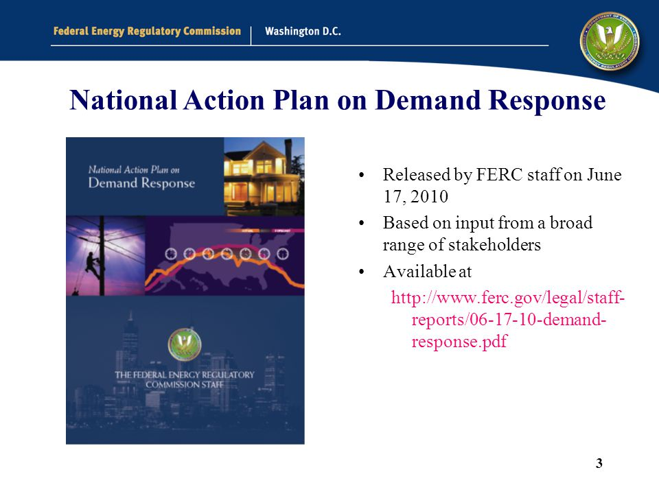 3 National Action Plan on Demand Response Released by FERC staff on June 17, 2010 Based on input from a broad range of stakeholders Available at http://www.ferc.gov/legal/staff- reports/06-17-10-demand- response.pdf