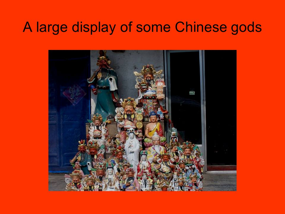 A large display of some Chinese gods