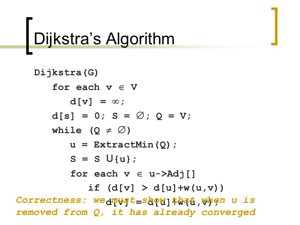 Dijkstra's Algorithm Dijkstra(G) for each v  V d[v] =  ; d[s] = 0; S =  ; Q = V; while (Q   ) u = ExtractMin(Q); S = S U {u}; for each v  u->Adj[] if (d[v] > d[u]+w(u,v)) d[v] = d[u]+w(u,v); Correctness: we must show that when u is removed from Q, it has already converged