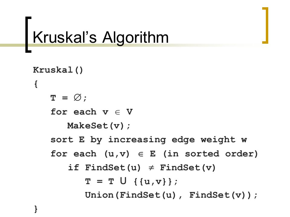 Kruskal's Algorithm Kruskal() { T =  ; for each v  V MakeSet(v); sort E by increasing edge weight w for each (u,v)  E (in sorted order) if FindSet(u)  FindSet(v) T = T U {{u,v}}; Union(FindSet(u), FindSet(v)); }
