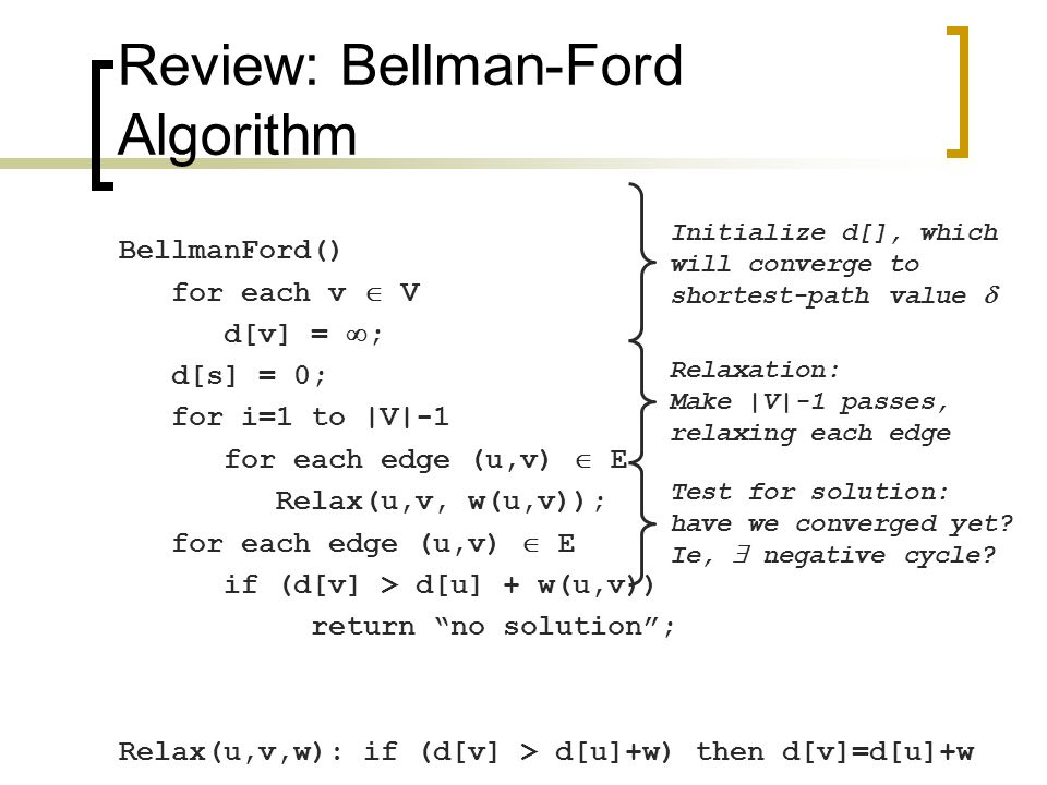 Review: Bellman-Ford Algorithm BellmanFord() for each v  V d[v] =  ; d[s] = 0; for i=1 to |V|-1 for each edge (u,v)  E Relax(u,v, w(u,v)); for each edge (u,v)  E if (d[v] > d[u] + w(u,v)) return no solution ; Relax(u,v,w): if (d[v] > d[u]+w) then d[v]=d[u]+w What will be the running time?