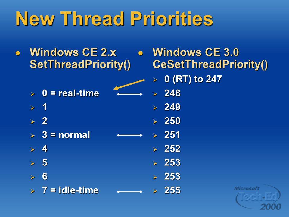 New Thread Priorities Windows CE 2.x SetThreadPriority() Windows CE 2.x SetThreadPriority()  0 = real-time  1  2  3 = normal  4  5  6  7 = idle-time Windows CE 3.0 CeSetThreadPriority() Windows CE 3.0 CeSetThreadPriority()  0 (RT) to 247  248  249  250  251  252  253  255