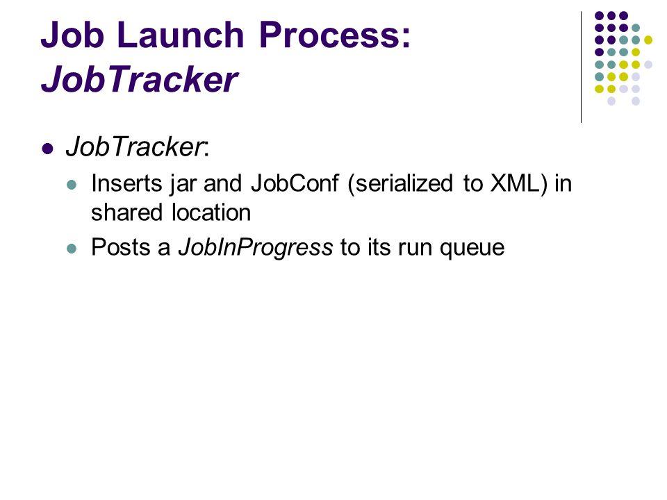 Job Launch Process: JobTracker JobTracker: Inserts jar and JobConf (serialized to XML) in shared location Posts a JobInProgress to its run queue