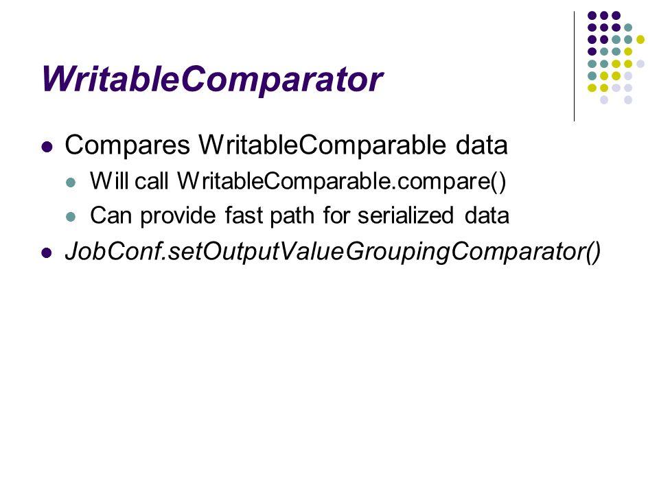 WritableComparator Compares WritableComparable data Will call WritableComparable.compare() Can provide fast path for serialized data JobConf.setOutputValueGroupingComparator()